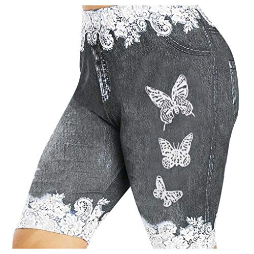 FANSHONN Women's Stretchy Fake Denim Shorts Knee Length Butterfly Print Lace Trim Jean Shorts Plus Size Leggings