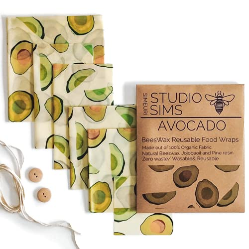 Studio simeuri Assorted 6 pack Beeswax wrap reusable food wraps natural Bees wrap cheese paper for wrapping cheese breads sandwich storage eco friendly zero waste container sustainable gifts (Avocado)