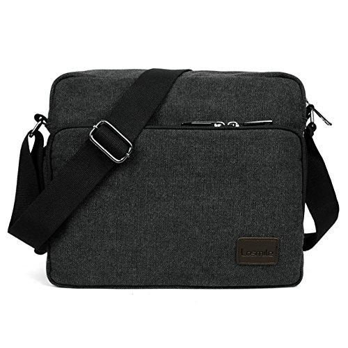 LOSMILE Umhängetasche Herren, Mittel Schultertasche Messenger Bag, Casual Vintage Stoff Rucksack.11.8 inch * 3.9 inch * 10.2 inch.(schwarz)