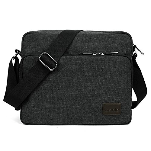 LOSMILE Small Messenger Bag, Mens Canvas Shoulder bags for Work, School, Daily Use,12 inch * 4.3 inch * 10.2 inch.(Black)