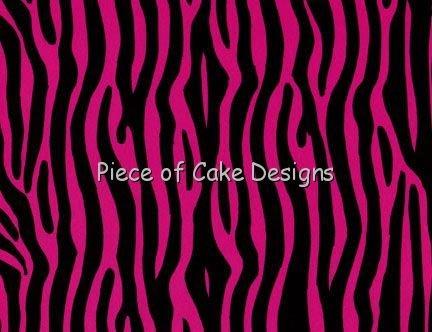 1/4 Sheet - Pink & Black Zebra Design Background - Edible Cake/Cupcake Topper - D350