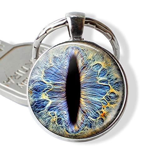 DSBN Sleutelhanger Frost Dragon Eye Resin Keychain Drakensieraden, Draaksleutelhanger Charm Cabochon Glas Gift Draak Sleutelhanger Ring Helder zoals afgebeeld