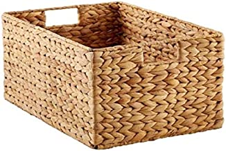 Rattan Woven Wicker Sea Grass - Hyacinth folding storage box wicker baskets for organizing (Small)