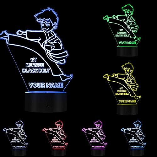 Luz nocturna para niños y jóvenes, karate, luz nocturna, celebraciones, grado negro, cinturón personalizado, ilusión óptica, lámpara de noche grabada, regalo para niños