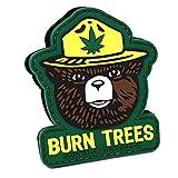 Burn Trees Marijuana Tactical Patch | PVC Rubber | Smokey Bear Parody | Funny Hook and Loop Patch