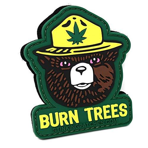 Burn Trees Marijuana Tactical Patch | PVC Rubber | Smokey Bear Parody | Funny Morale Patch