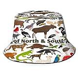 Sombrero de Pesca,Animales Norte América del Sur,Senderismo para Hombres y Mujeres al Aire Libre Sombrero de Cubo Sombrero para el Sol