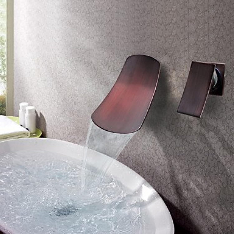 LZZNA Antike 3-Loch-Armatur Wasserfall Keramisches Ventil Einzigen Handgriff Zwei Lcher l-riebe Bronze, Waschbecken Wasserhahn