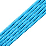 6 Strands Clay Beads Colorful Round Handmade Heishi BeadsPolymer Flat Beads for Necklace Jewelry Bracelet Earring Pendant and Anklet Craft Making (6mm,Blue)
