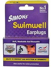 Simon's Swimwell Reusable Silicone Earplugs (3 Pairs, Orange)