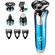 Men's Electric Shaver Electric Razor 4 in 1 Rotary Shaver Cordless Nose Hair Trimmer Beard Trimmer Face Cleaning Rechargeable USB Wet Dry Shaver Waterproof (Blue)