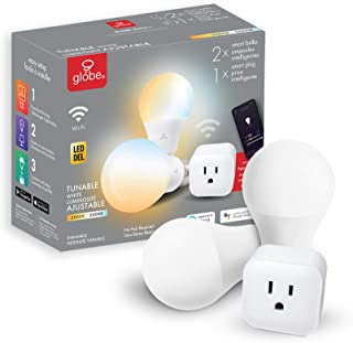 Globe Electric Collection Starter Kit, No Hub Required, Voice Activated, 1x Plug, 2X Wi-Fi Smart Tunable White LED Bulbs (A19 Shape, E26 Base, 2000K-5000K) 50116