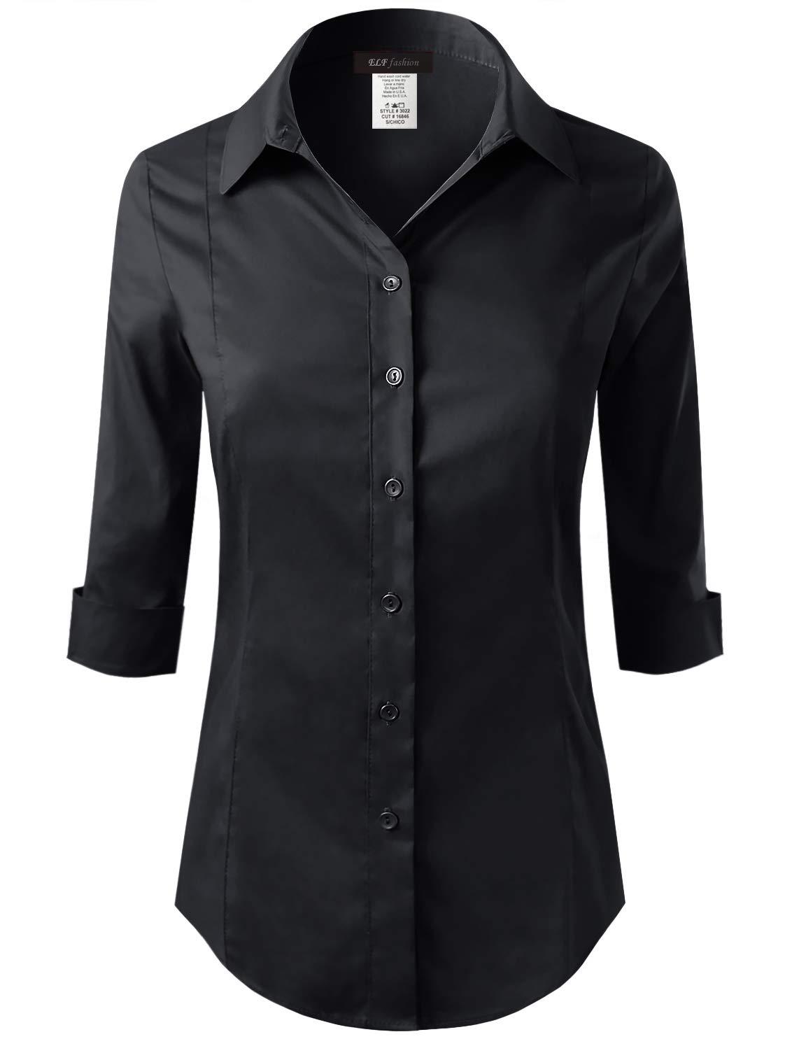ELF FASHION 七分袖纽扣衬衫女式美国制造(尺码 S~3XL)