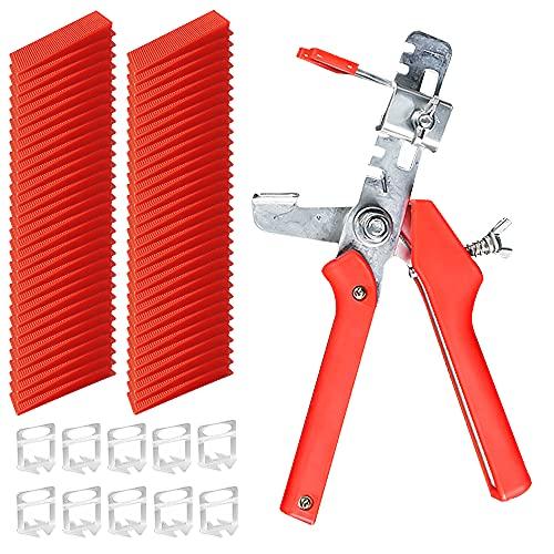 Sistema de nivelación de azulejos Kit de instalación de azulejos con 100 piezas de junta horizontal de cuña y cuña reutilizable alicates de nivelación de azulejos sistema de azulejos herramienta de