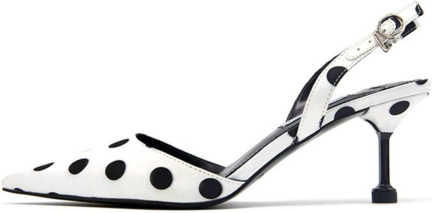 Meiren Pumps High-Heeled Stiletto Back-Spot Fashion Pointed-Toe shoes White shoes