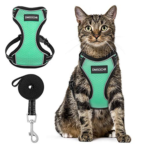 Cat Harness and Leash Set - Escape Proof Safe Cat Vest Harness for Walking Outdoor - Reflective Adjustable Soft Mesh Breathable Body Harness - Easy Control for Small, Medium, Large Cats