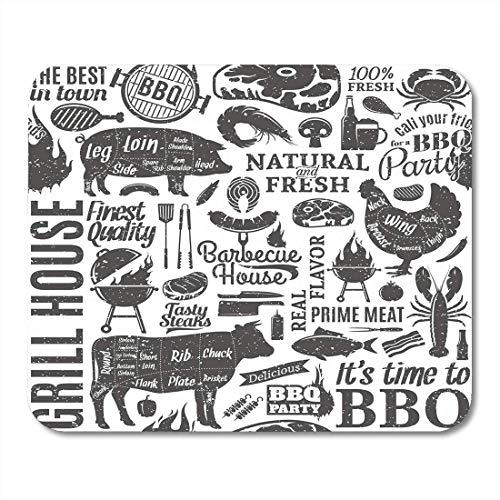 "AOHOT Alfombrillas de ratón BBQ Retro Styled Typographic Barbecue Meat Pattern Beef Pork Grill Mouse Pad 9.5"" x 7.9"" for Notebooks,Desktop Computers Accessories Mini Office Supplies Mouse Mats"