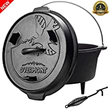Overmont Camp Dutch Oven 11.2x11x8in All-round Cast Iron Casserole Pot Dual Function Lid Skillet Pre Seasoned with Lid Lifter Handle for Camping Cooking BBQ Baking