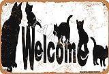 Cartel de metal con texto en inglés «Welcome to the Cat House» de 20 x 30 cm, aspecto vintage, decoración para el hogar, cocina, baño, granja, jardín, garaje, citas inspiradoras, decoración de pared