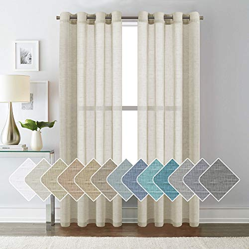 H.VERSAILTEX 52 - Inch Width by 84 - Inch Length Natural Linen Blended Curtain Panels for Living Room/Light Reducing Linen Sheer Curtains, Nickel Grommet Window Panels -Set of 2, Natural