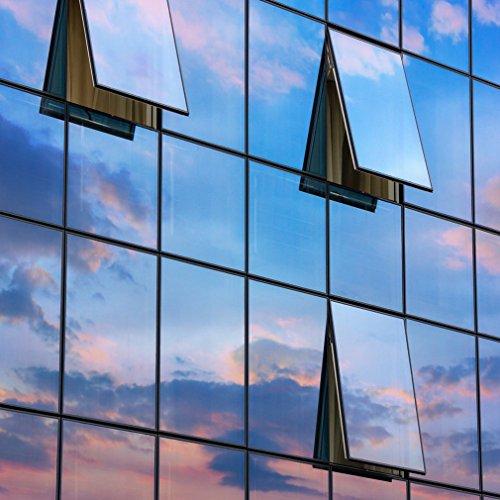 KINLO 45x200cm verspiegelte Folie Sonnenschutz selbstklebend Fensterfolie Sichtschutz und Hitzeschutz Sichtschutzfolie Spiegelfolie für Fenster Silber-Blau