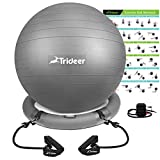 Trideer Exercise Ball Chair, Workout Ball for Home Gym with Base & Resistance Bands, Flexible Ball Seat with Pump, Improves Core Strength, Balance & Posture