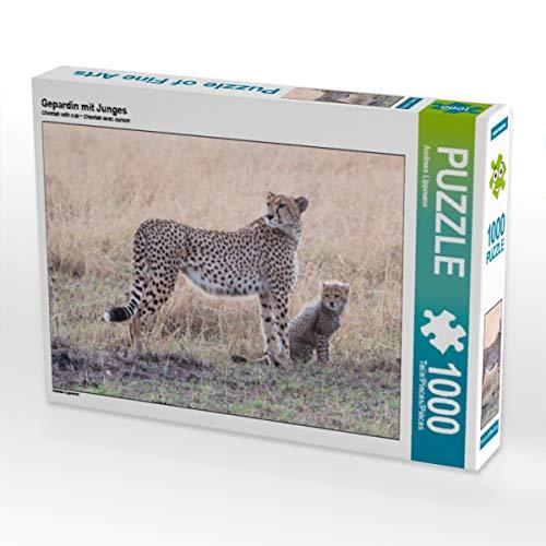 CALVENDO Puzzle Gepardin mit Junges 1000 Teile Lege-Größe 64 x 48 cm Foto-Puzzle Bild von Claudia Lippmann