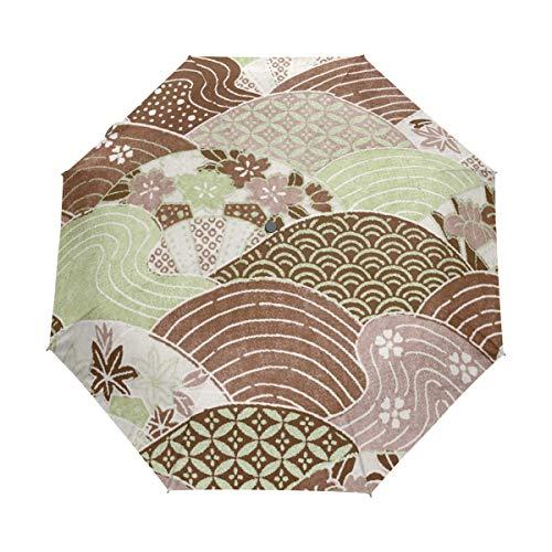 Paraguas 3 Pliegues Personalizar patrón de Abanico japonés Anti-UV Auto Abrir Cerrar...