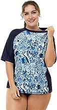 ATTRACO Women Plus Size Swim Shirts Rash Guard Swim Tops Short Sleeve UPF 50 2X