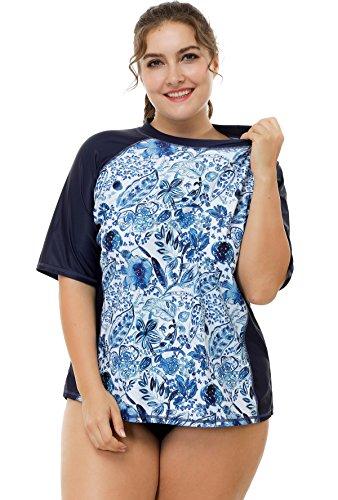 ATTRACO Plus Size Rashguard for Women Sun Protection Shirt Floral Print Navy 3X