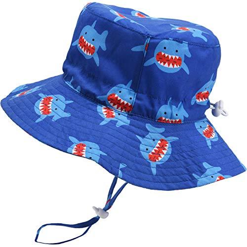 Sombrero de Verano para bebé Sombrero de Playa Ajustable Sombrero de niño al Aire Libre Sombrero de ala Ancha con protección Solar con Correa, 18.9 Pulgadas, 6-12 Meses