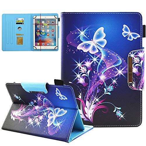 9.5-10.5 inch Tablet Universal Case, JZCreater Synthetic Leather Case Cover for iPad Air,New iPad 5th/6th Gen, Samsung Galaxy Tab A 10.1/Tab E 9.6 and More 9.5-10.5inch Tablet, Purple Butterfly