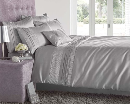 KING SIZE - GREY & SILVER DIAMANTE FAUX SILK DUVET COVER BED SET
