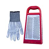 Microplane Elite Box Grater with Cut Resistant Glove Set (Red)
