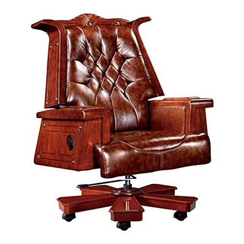 J.KM Chefsessel, Präsidentensessel Vintage Wood Reclining Leder Boss Chair Manager Stuhl Computer Chair Chair 360-Grad-Schwenker für zu Hause