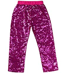 Hot Pink Sequin Leggings Tights Cotton Sparkle on The Front