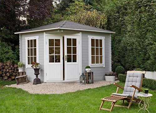 Alpholz 5-Eck Gartenhaus Monica aus Massiv-Holz | Gerätehaus mit 28 mm Wandstärke | Garten Holzhaus inklusive Montagematerial | Geräteschuppen Größe: 300 x 300 cm | Spitzdach