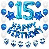 JKJF 15 cumpleaños decoración azul niños cumpleaños Set gigante número 15 globos de papel de aluminio Happy Birthday Banner Globos confeti globos decoración para niñas jóvenes cumpleaños fiesta
