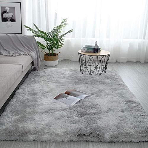 Pauwer Plüsch Shaggy Teppiche Seidig Glatte Pelzteppiche Moderne Indoor Plüsch Flausch Teppiche Anti-Rutsch-Spielmatte Bodenteppichmatte (Hellgrau, 80 x 160 cm)