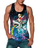 Goodstoworld Men's Gym Bodybuilding Stringer Tank Top Cat Shark Rainbow Y-Back Muscle Workout Shirt Fitness Compression Athletic Muscle Sleeveless