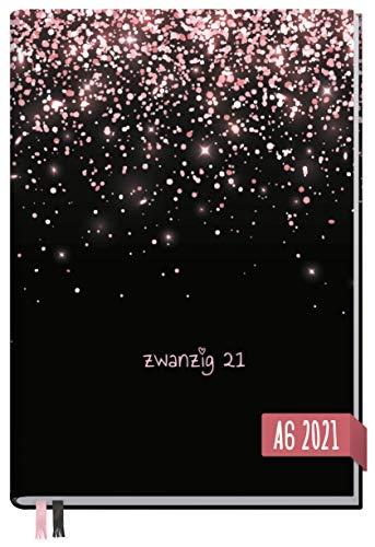 Chäff-Timer Mini A6 Kalender 2021 [Glitzerregen] mit 1 Woche auf 2 Seiten | Terminplaner, Wochenkalender, Organizer, Terminkalender mit Wochenplaner | nachhaltig & klimaneutral