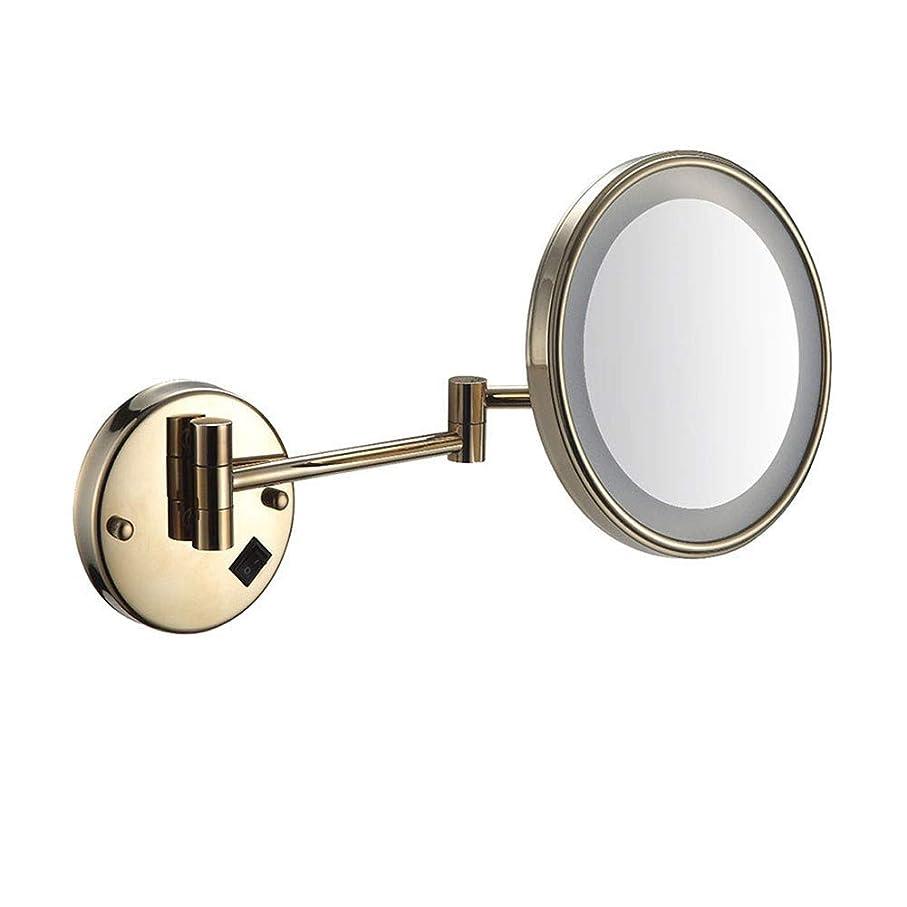 北方第四貪欲ラウンド片面バスルーム折りたたみLED 3X拡大鏡壁掛け銅望遠鏡バニティビューティーミラーUSB充電 化粧鏡
