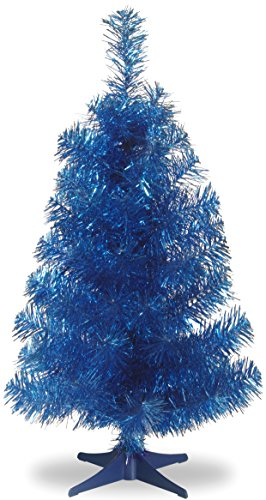National Tree Company Artificial Christmas Tree | Includes Stand | Blue Tinsel - 3 ft