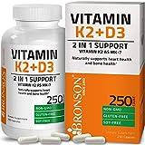 Vitamin K2 (MK7) with D3 Supplement Bone and Heart Health Non-GMO Gluten Free Formula 5000 IU Vitamin D3 & 90 mcg Vitamin K2 MK-7 Easy to Swallow Vitamin D & K Complex, 250 Capsules