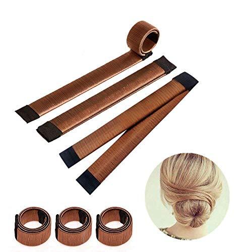 Ealicere 3 Stück Bun Haarschmuck, Magic Hair Styling Donut French Bun Maker, Hair Bun Shapers für Frauen Mädchen DIY Frisur Tools,Schwarz, dunkelbraun und braun