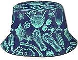 Zapatillas de concha de playa verde con estampado de sombrero de pescador, gorra...