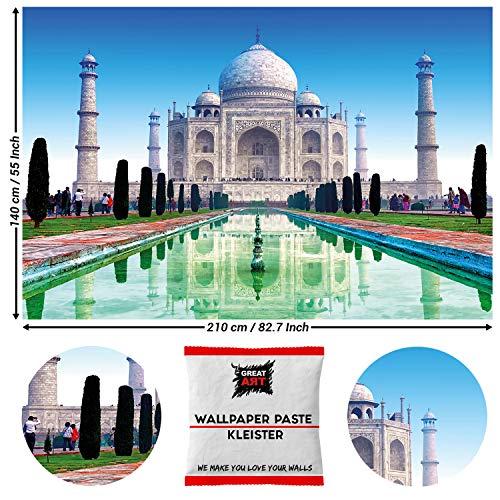 Great Art Taj Mahal wanddecoratie - wereldwonder Indian Monument schilderij Culture Colors 210 x 140 cm - 5 Teile + Kleister Taj Mahal