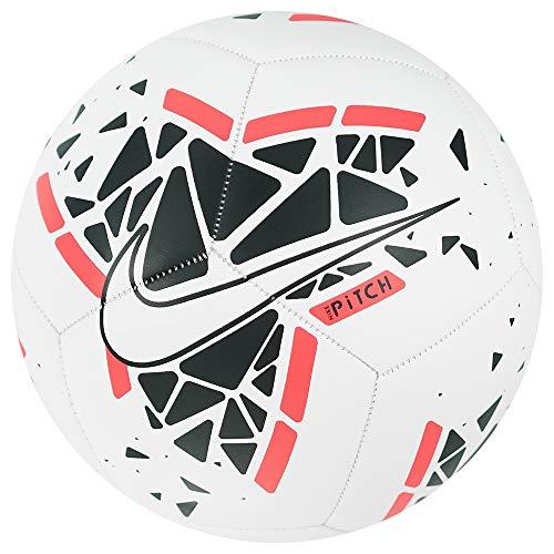 Nike Unisex-Adult Nike Pitch Soccer Ball SC3807 White/Black/Laser Crimson/White 5