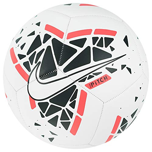 Nike Pitch Soccer Ball, Pallone da Calcio Unisex Adulto, White/Black/Laser Crimson/White, 5