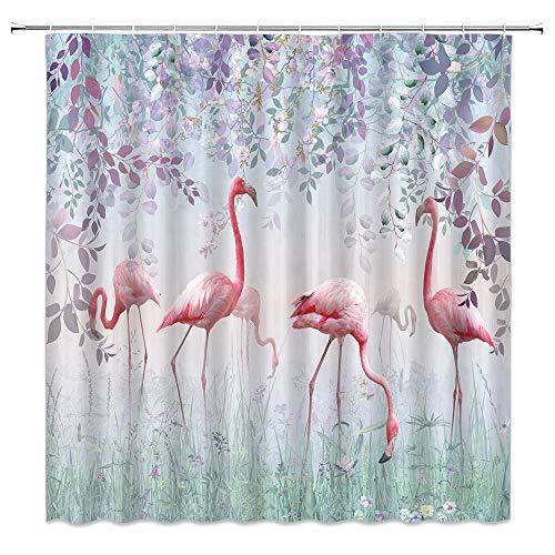 Xnichohe Pink Flamingo Shower Curtain Tropical Jungle Animal Purple Flower Vine Leaves Fairytale Magic Fog Forest Polyester Cloth Fabric Bathroom Curtains Decor Set with Hooks,70 x70 Inches